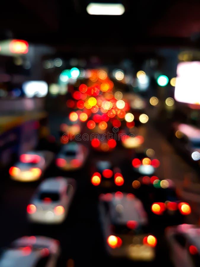汽车光Bokeh在交通堵塞的在路 图库摄影