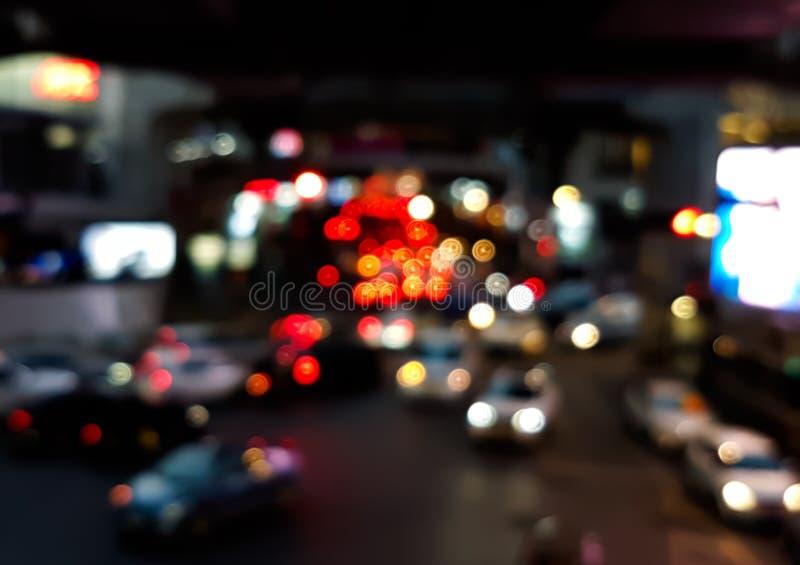 汽车光Bokeh在交通堵塞的在路 免版税库存图片