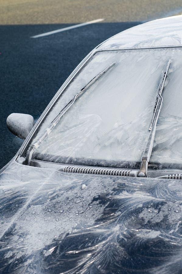 汽车冻结的挡风玻璃 免版税库存照片