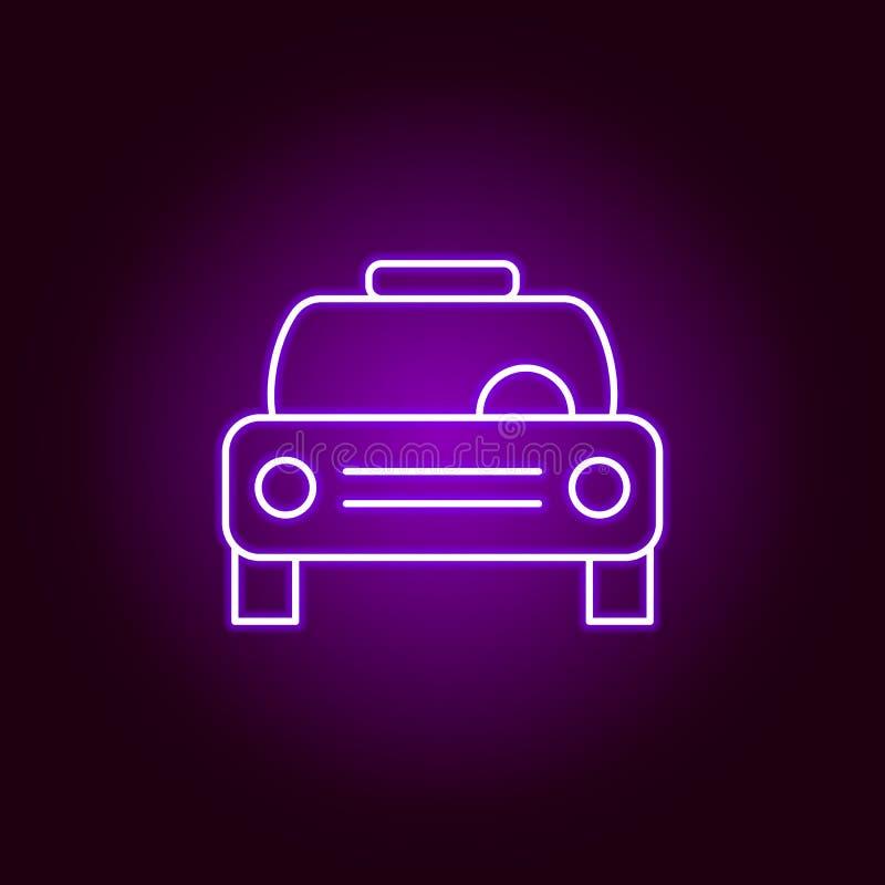 汽车出租汽车在霓虹样式的概述象 汽车在霓虹样式象的修理例证的元素 标志和标志可以为网使用 库存例证