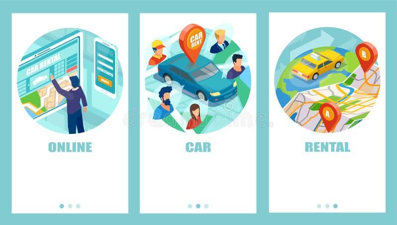 汽车分享和出租概念 库存例证