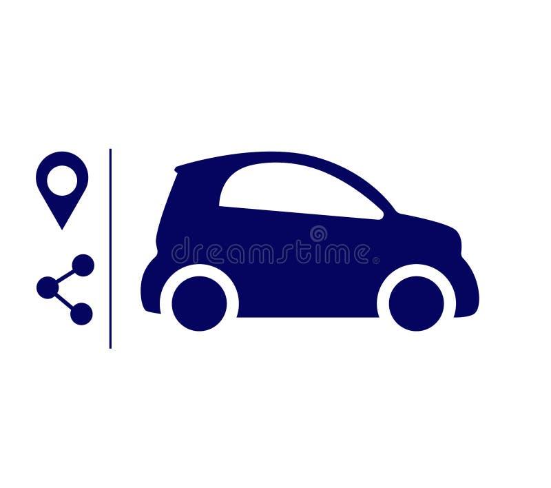 汽车分享象 与汽车驻地被找出的和汽车的抽象设计观念分享了别针传染媒介例证 在城市街道上的汽车 向量例证