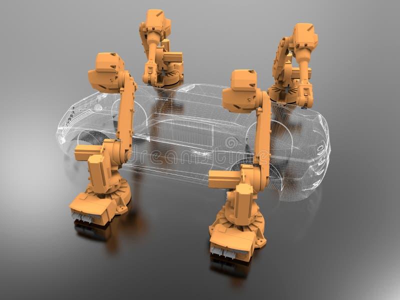 汽车制造业wireframe概念 向量例证