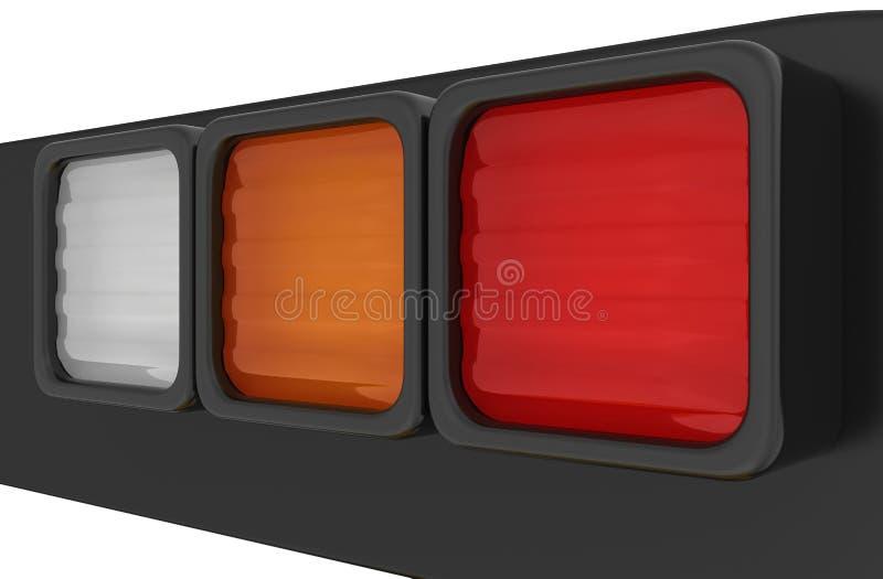 汽车刹车灯扭转的灯特写镜头  库存例证