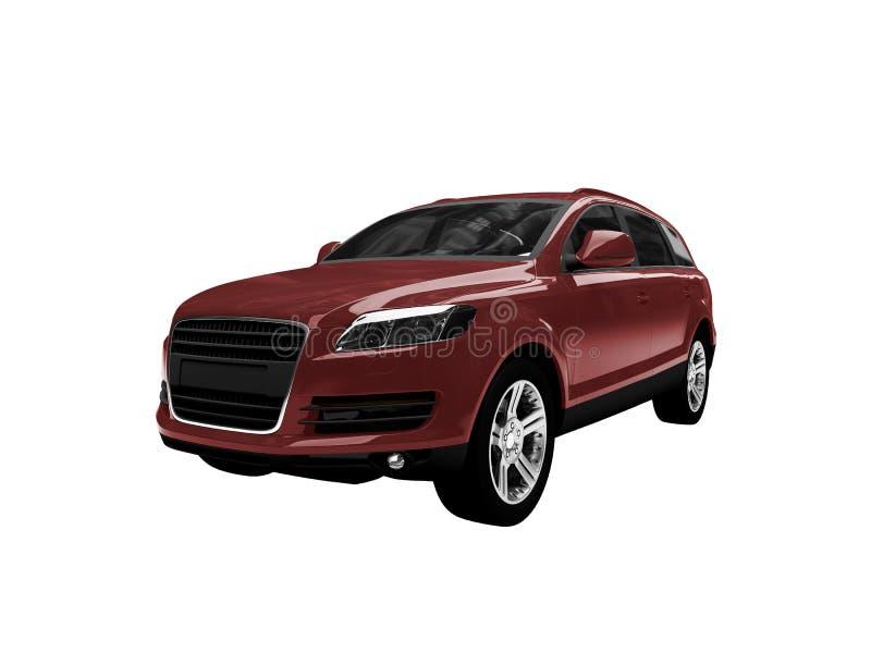汽车前面查出的红色视图 库存例证