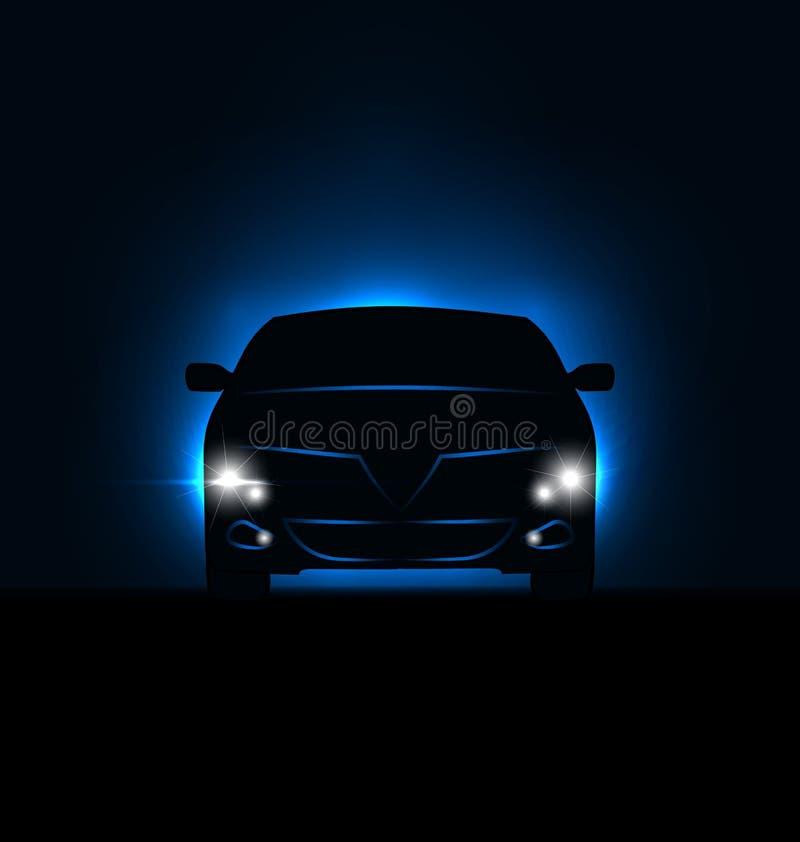 汽车剪影有车灯的在黑暗中 向量例证