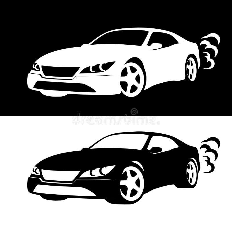 汽车剪影 库存例证