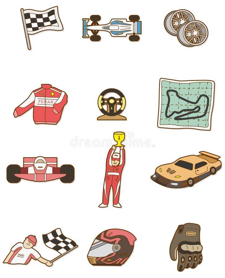 汽车动画片f1图标 向量例证