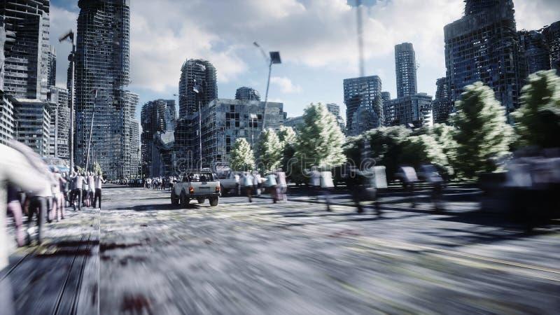 汽车去远离追逐人群蛇神 被毁坏的城市 快速地驱动 启示大气血污的特写镜头概念黑暗的停止的坏的表面生存僵死 3d翻译 皇族释放例证