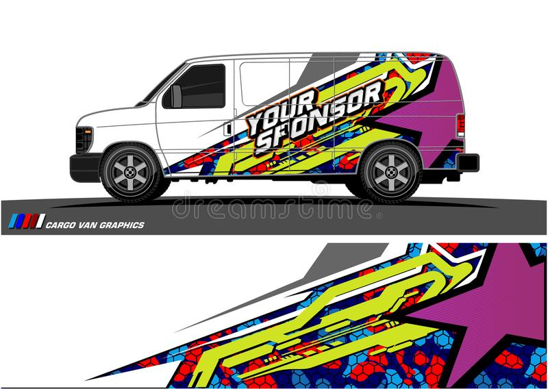 汽车号衣图表传染媒介 车乙烯基套背景的抽象赛跑的形状设计 库存例证