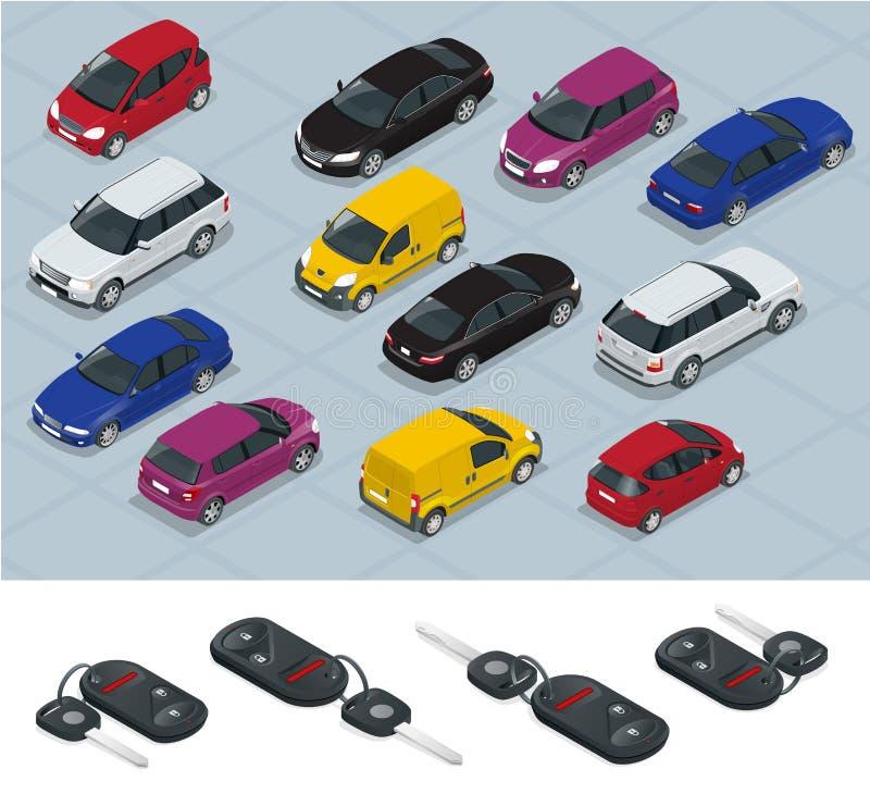 汽车和汽车钥匙象 汽车钥匙 平的3d等量传染媒介优质城市运输汽车象集合 汽车,搬运车,货物 库存例证