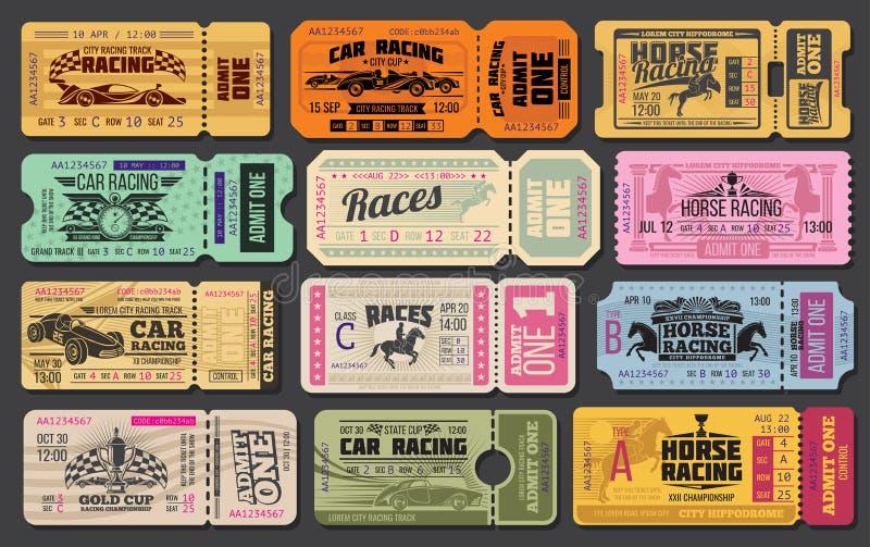 汽车和赛马减速火箭的票 向量例证