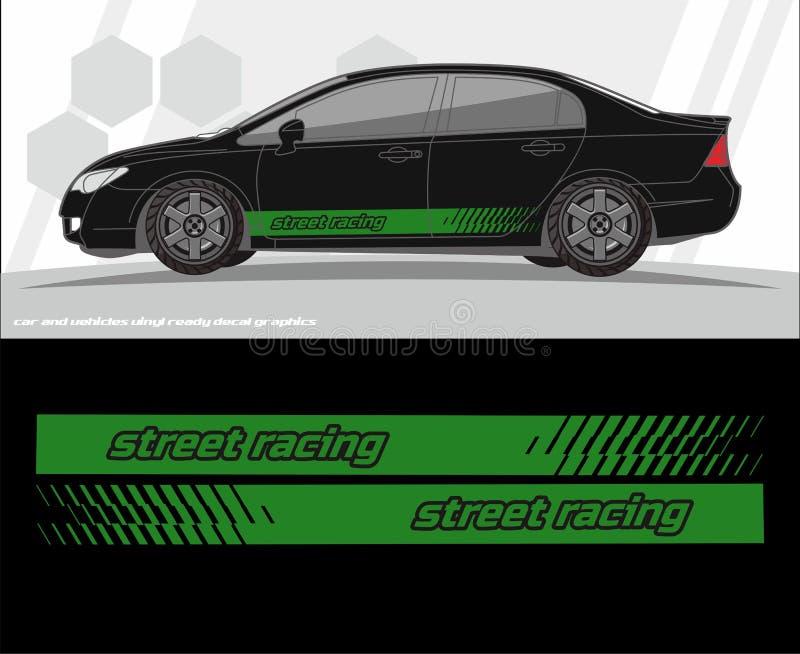 汽车和车标签图表成套工具设计 准备为乙烯基贴纸打印和切开 向量例证