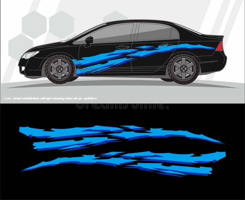 汽车和车标签图表成套工具设计 准备为乙烯基贴纸打印和切开 皇族释放例证
