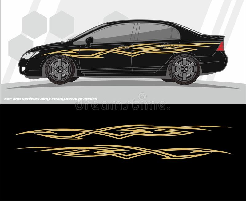 汽车和车标签图表成套工具设计 准备为乙烯基贴纸打印和切开 库存例证