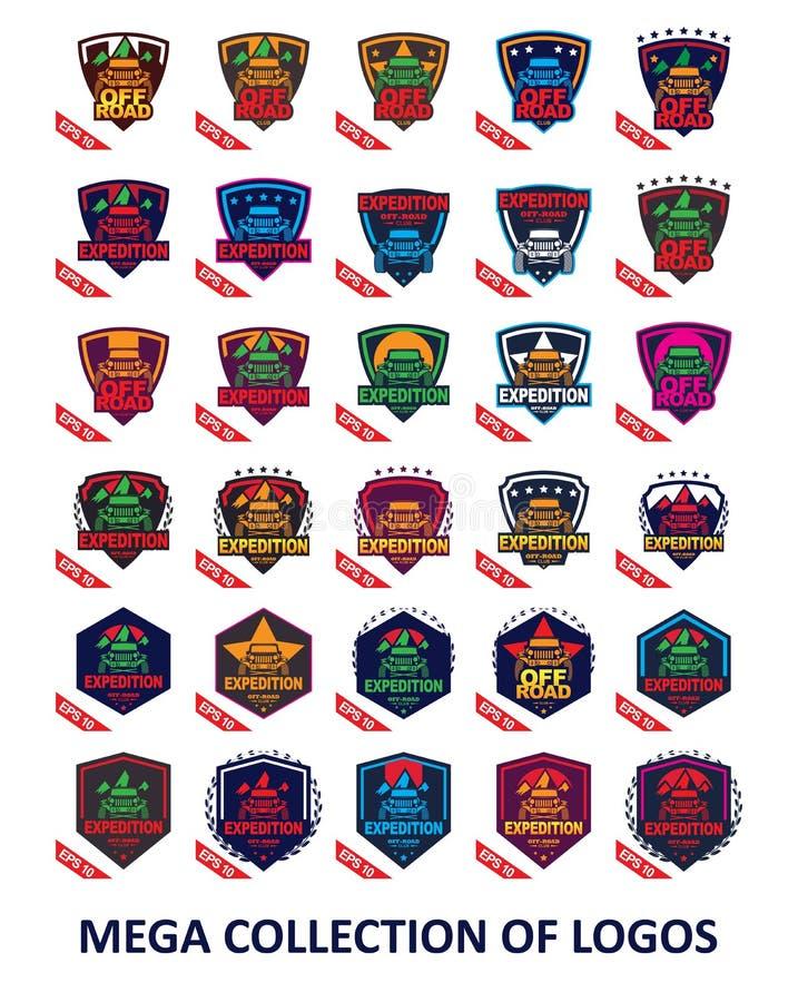 汽车商标 设置您的事务的30枚越野徽章 您的汽车体育的现代设计模板 向量例证