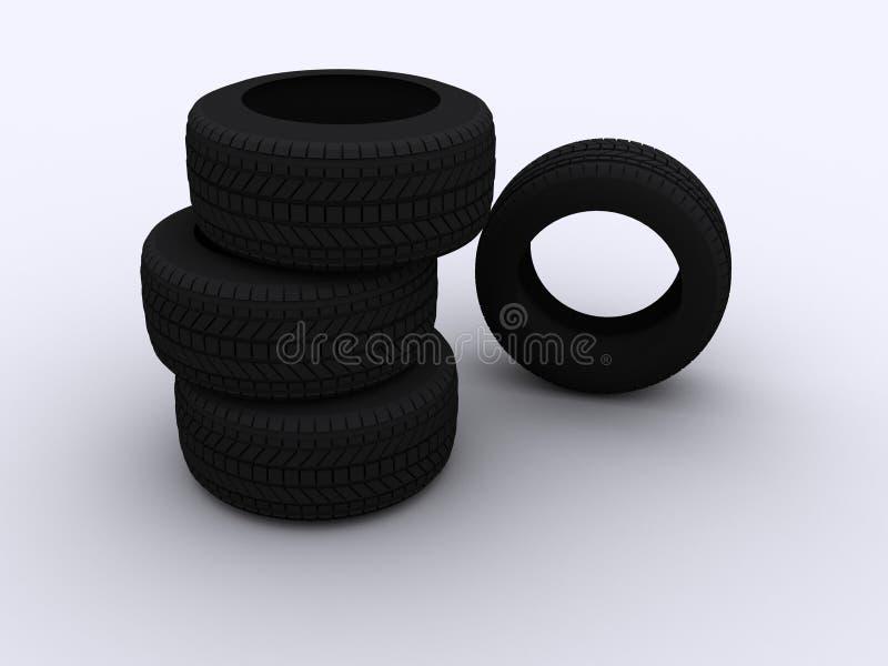 汽车四个栈轮胎 库存例证