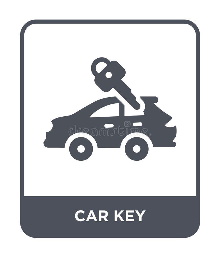 汽车在时髦设计样式的钥匙象 汽车在白色背景隔绝的钥匙象 汽车钥匙传染媒介象简单和现代平的标志 皇族释放例证