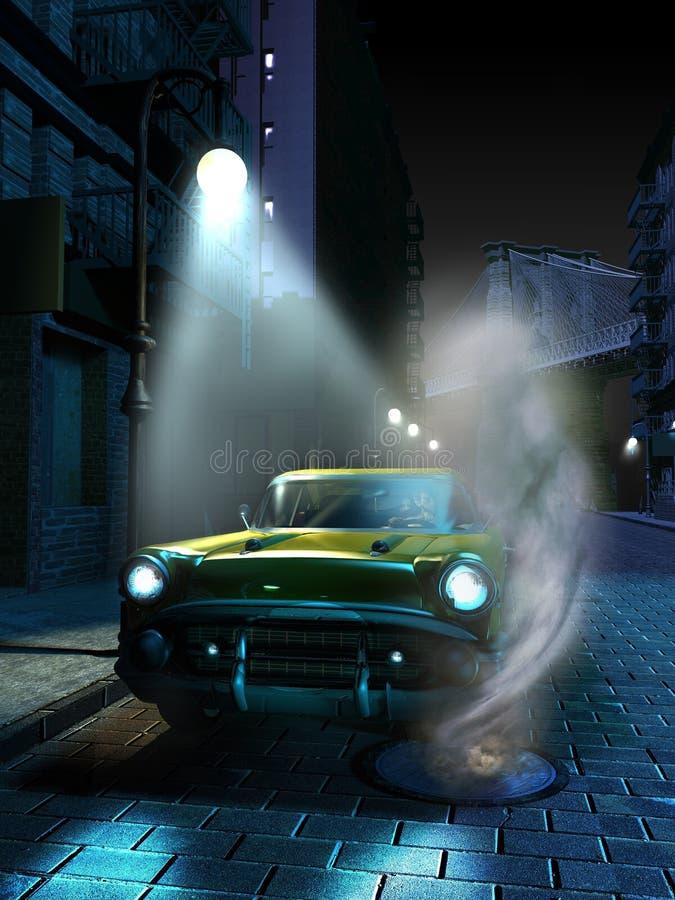汽车在曼哈顿在晚上 向量例证