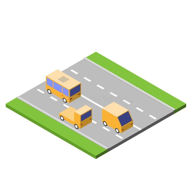 汽车在柏油路,等量样式,交通概念,传染媒介例证驾驶 向量例证