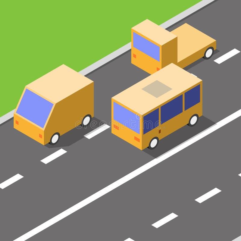 汽车在柏油路,等量样式,交通概念,传染媒介驾驶 向量例证