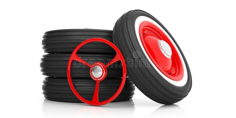 汽车在白色和轮胎隔绝的方向盘 3d例证 库存例证