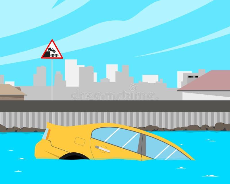 汽车在水中 库存例证
