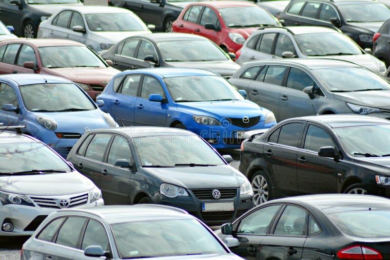 汽车城市抽签停车 免版税库存照片