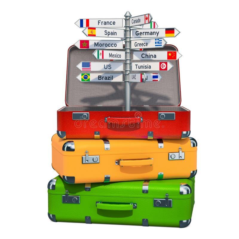 汽车城市概念都伯林映射小的旅行 与国家的名字的路标在手提箱里面的在行李堆  3d翻译 库存例证