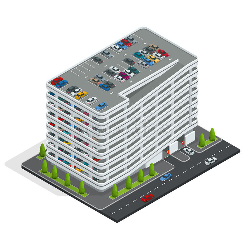 汽车多公园故事 等量城市停车场 都市汽车公园设施 向量例证
