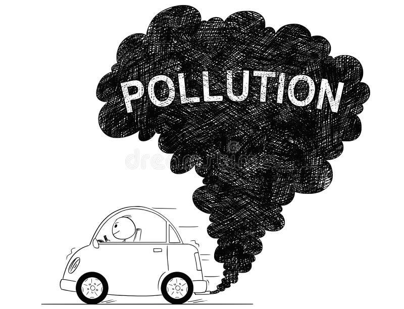 汽车大气污染的传染媒介艺术性的图画例证 向量例证