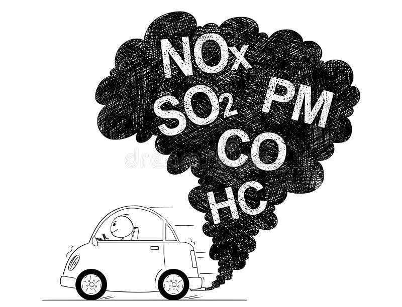 汽车大气污染的传染媒介艺术性的图画例证 皇族释放例证