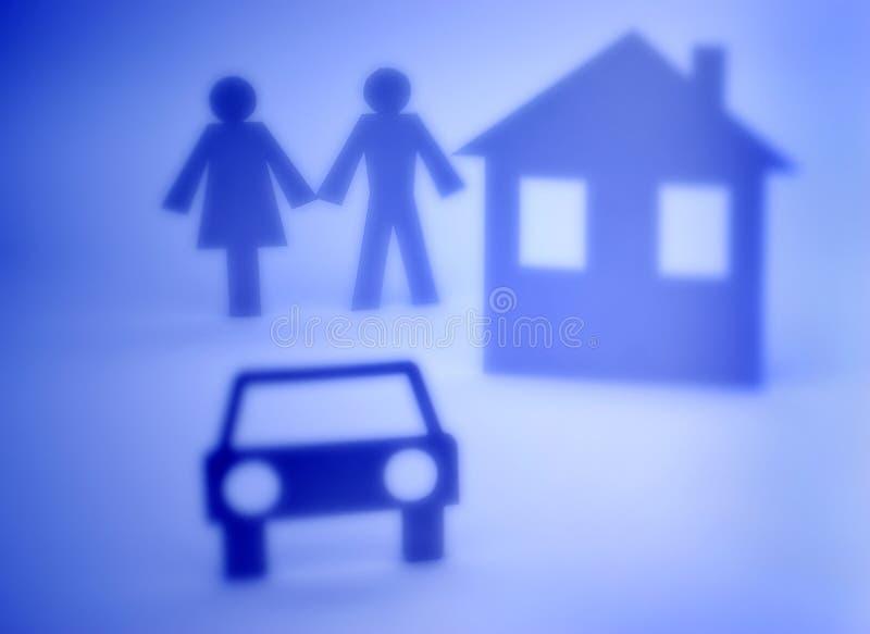 汽车夫妇保险开关家 免版税库存照片