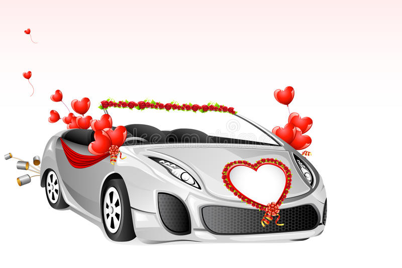 汽车婚礼 库存例证