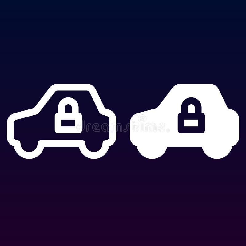 汽车安全、在白色和坚实象、概述和被填装的传染媒介标志,线性和充分的图表隔绝的车和锁线 向量例证
