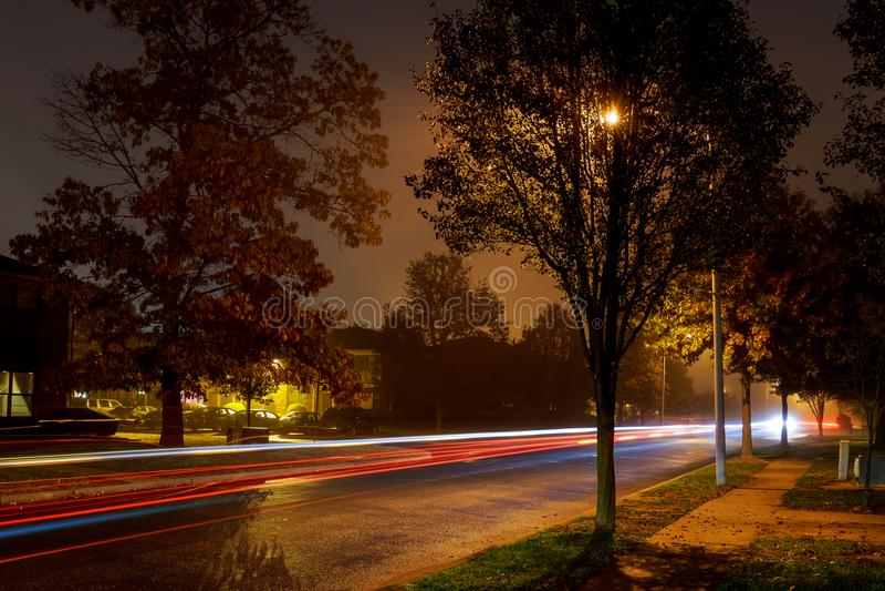 汽车尾灯在路的在黑暗的有雾的冬天晚上 库存照片