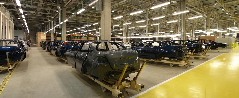 汽车工厂马达 免版税图库摄影