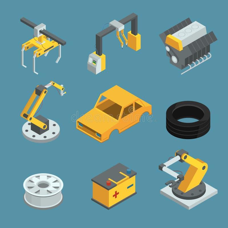 汽车工厂 制造过程的另外技术 自动化的机械线生产 产业机器人 向量 皇族释放例证