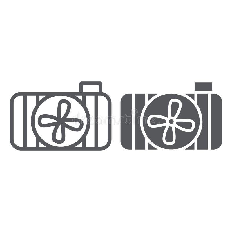 汽车幅射器线和纵的沟纹象、汽车和部分,冷却系统标志,向量图形,在白色的一个线性样式 皇族释放例证