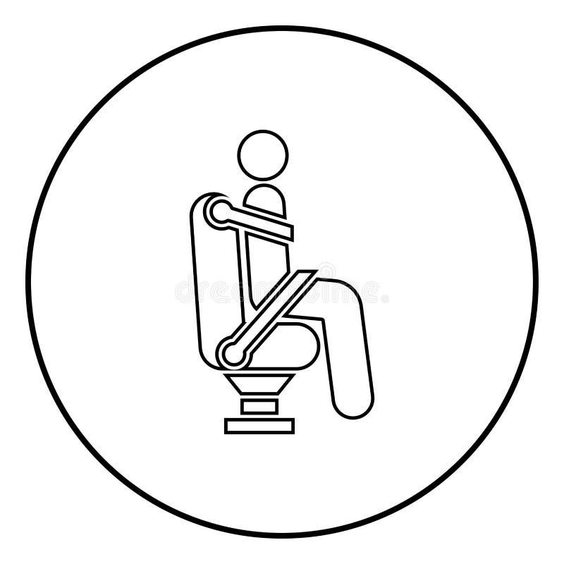 汽车座位的人使用安全的汽车传送带人与安全带棍子汽车概念象在圆的圈子的黑色例证 向量例证