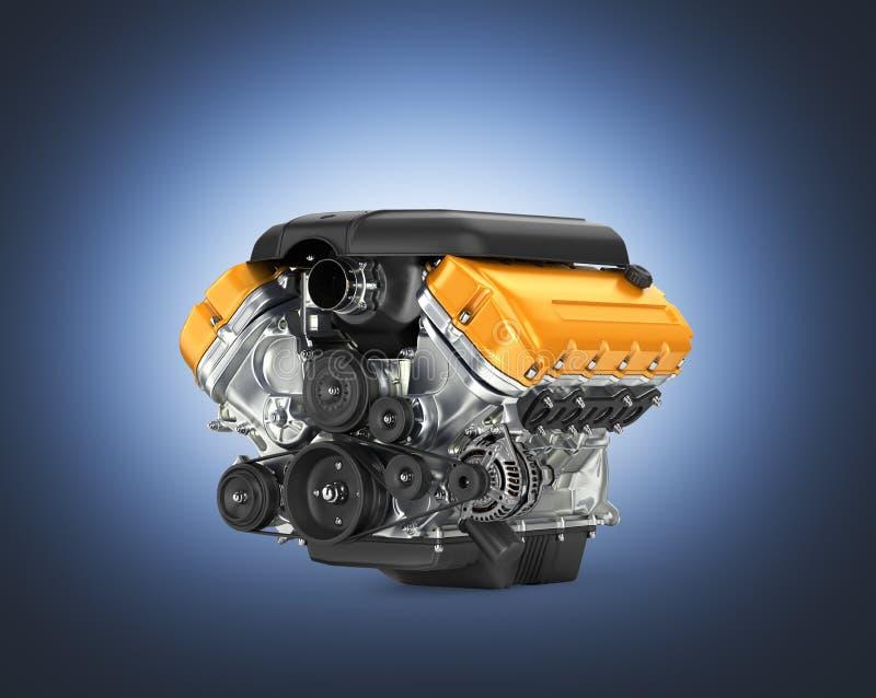 汽车引擎在深蓝梯度背景3D的传动箱汇编 向量例证