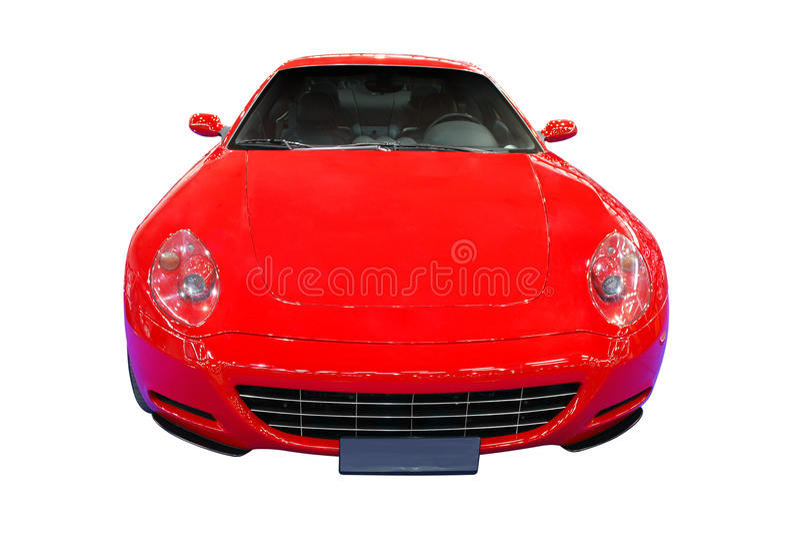 汽车快速前查出的红色视图 库存照片