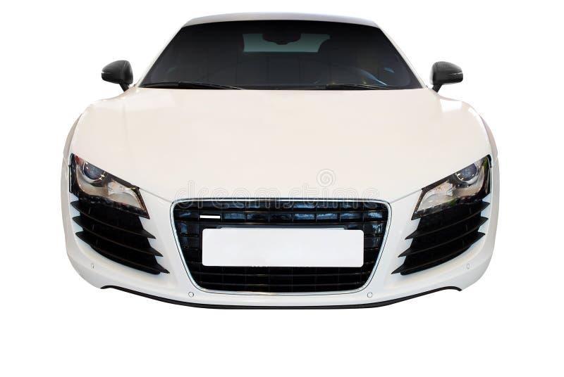 汽车快速前查出的视图白色 免版税库存图片