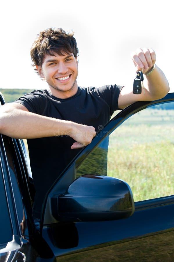 汽车愉快的中心人物最近的陈列 免版税图库摄影