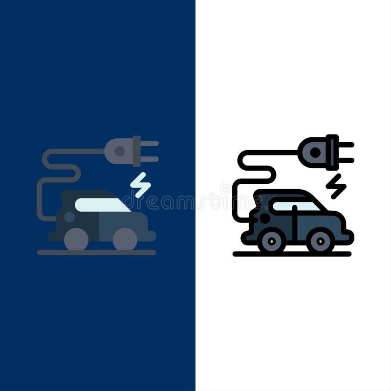 汽车技术,电车,电动车象 舱内甲板和线被填装的象设置了传染媒介蓝色背景 向量例证