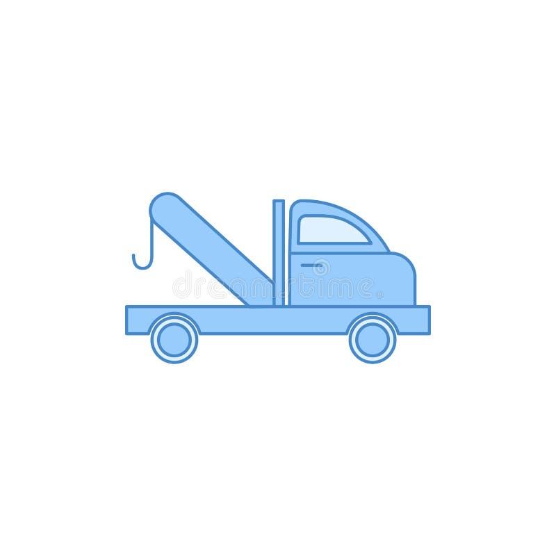 汽车拖曳服务被填装的概述象 运输象的元素流动概念和网apps的 稀薄的线汽车拖曳服务被填装的o 库存例证