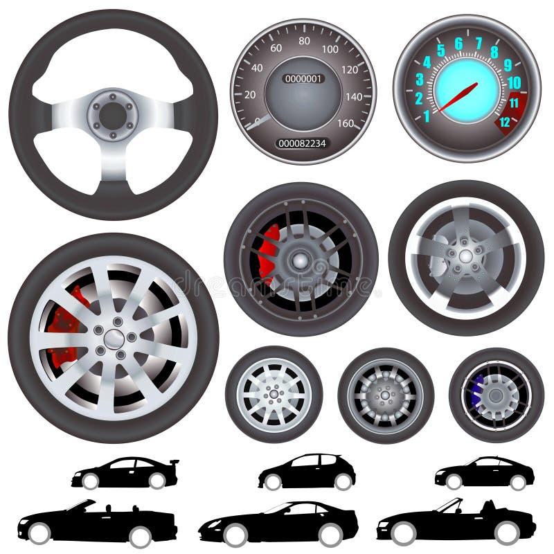 汽车指点向量轮子 向量例证