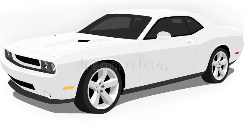 汽车挑战者推托肌肉白色 皇族释放例证