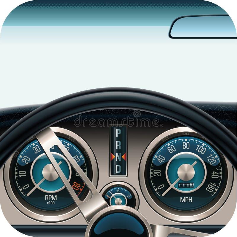 汽车控制板图标正方形向量 向量例证