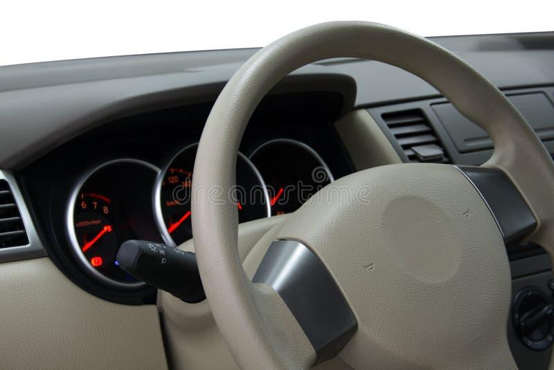 汽车控制板方向盘 免版税库存图片
